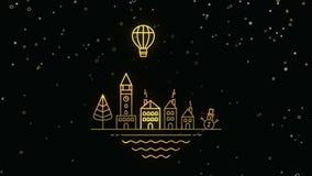 Χριστούγεννα και νέα κάρτα πόλεων περιλήψεων έτους χρυσή διανυσματική απεικόνιση