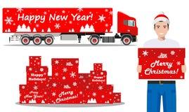 Χριστούγεννα και νέα παράδοση έτους Σύνολο λεπτομερούς απεικόνισης του φορτηγού παράδοσης, των κιβωτίων δώρων και της deliveryman Στοκ Εικόνες