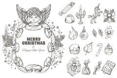 Χριστούγεννα και νέα στοιχεία σχεδίου έτους διακοσμητικά Στοκ Εικόνες