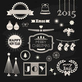Χριστούγεννα και νέα στοιχεία σχεδίου και διακοσμήσεων έτους καθορισμένα διανυσματική απεικόνιση