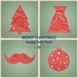 Χριστούγεννα και νέα σύμβολα έτους για τα σχέδια postcar Στοκ Εικόνα