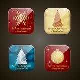 Χριστούγεννα και νέα app έτους εικονίδια Στοκ Φωτογραφίες