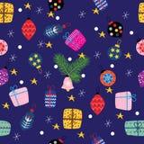 Χριστούγεννα και νέες απεικονίσεις έτους με τα δώρα και τα παιχνίδια, seamle στοκ εικόνες