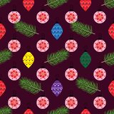 Χριστούγεννα και νέες απεικονίσεις έτους με τα δώρα και τα παιχνίδια, seamle στοκ φωτογραφία