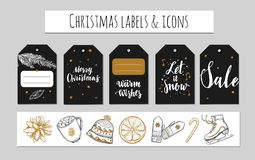 Χριστούγεννα και νέες ετικέτες έτους, ετικέττες δώρων και εικονίδια Διακόσμηση διακοπών Διανυσματικές συρμένες χέρι απεικονίσεις  Στοκ Εικόνες