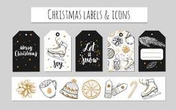 Χριστούγεννα και νέες ετικέτες έτους, ετικέττες δώρων και εικονίδια Διακόσμηση διακοπών Διανυσματικές συρμένες χέρι απεικονίσεις  Στοκ Εικόνα