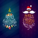 Χριστούγεννα και νέες ετικέτες έτους Στοκ εικόνα με δικαίωμα ελεύθερης χρήσης
