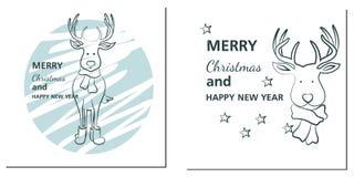 Χριστούγεννα και νέες κάρτες χαιρετισμών έτους με τα ελάφια ελεύθερη απεικόνιση δικαιώματος