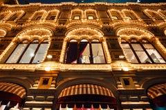 Χριστούγεννα και νέοι φωτισμοί διακοσμήσεων φω'των έτους εορταστικών και στις οδούς της πόλης, κόκκινη πλατεία, Μόσχα, Ρωσία στοκ εικόνες