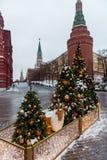 Χριστούγεννα και νέος χρόνος στη Μόσχα στον κόκκινο γαιοκτήμονα στοκ φωτογραφία
