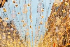 Χριστούγεννα και νέος χρόνος στη Μόσχα στον κόκκινο γαιοκτήμονα στοκ φωτογραφίες με δικαίωμα ελεύθερης χρήσης