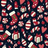 Χριστούγεννα και νέο άνευ ραφής σχέδιο έτους με τα σύμβολα χειμερινών διακοπών: γάντια, γλυκά, δώρα κ.λπ. απεικόνιση αποθεμάτων