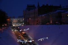 Χριστούγεννα και νέο έτος 2019 διακοσμήσεις σε Nizhny Novgorod στοκ φωτογραφίες με δικαίωμα ελεύθερης χρήσης