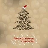 Χριστούγεννα και νέο έτος. Διανυσματική ευχετήρια κάρτα Στοκ Εικόνα
