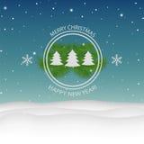 Χριστούγεννα και νέο έτος. Διανυσματική ευχετήρια κάρτα Στοκ Εικόνες