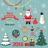Χριστούγεννα και νέο έτος καθορισμένα - διακοσμητικά στοιχεία Στοκ εικόνα με δικαίωμα ελεύθερης χρήσης