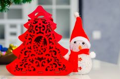 Χριστούγεννα και νέο έτος, κόσμημα, δέντρο, σύμβολα Στοκ εικόνα με δικαίωμα ελεύθερης χρήσης