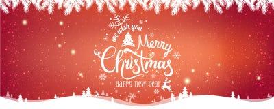 Χριστούγεννα και νέο έτος τυπογραφικά στο κόκκινο υπόβαθρο Χριστουγέννων με το χειμερινό τοπίο ελεύθερη απεικόνιση δικαιώματος