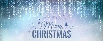Χριστούγεννα και νέο έτος τυπογραφικά στο μπλε υπόβαθρο με την ανάφλεξη, φως, αστέρια διανυσματική απεικόνιση