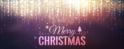 Χριστούγεννα και νέο έτος τυπογραφικά στο υπόβαθρο με την ανάφλεξη, φως, αστέρια απεικόνιση αποθεμάτων