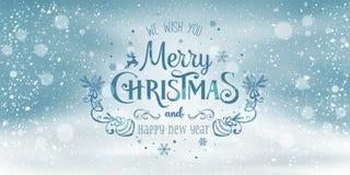 Χριστούγεννα και νέο έτος τυπογραφικά στο χιονώδες υπόβαθρο Χριστουγέννων με το χειμερινό τοπίο με snowflakes, φως, αστέρια ελεύθερη απεικόνιση δικαιώματος