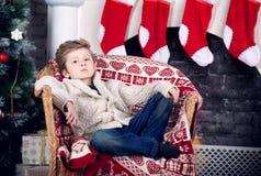 Χριστούγεννα και νέο αγόρι έτους Στοκ φωτογραφία με δικαίωμα ελεύθερης χρήσης