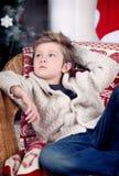 Χριστούγεννα και νέο αγόρι έτους Στοκ εικόνα με δικαίωμα ελεύθερης χρήσης