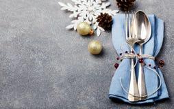 Χριστούγεννα και νέο διάστημα αντιγράφων επιτραπέζιου θέτοντας εορτασμού διακοπών έτους Στοκ φωτογραφίες με δικαίωμα ελεύθερης χρήσης