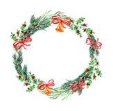 Χριστούγεννα και νέο στεφάνι έτους Στοκ φωτογραφία με δικαίωμα ελεύθερης χρήσης