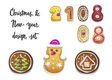 Χριστούγεννα και νέο σύνολο έτους διαφορετικών χαριτωμένων μπισκότων μελοψωμάτων επίσης corel σύρετε το διάνυσμα απεικόνισης απεικόνιση αποθεμάτων