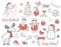 Χριστούγεννα και νέο σύνολο έτους η αλλοδαπή γάτα κινούμενων σχεδίων δραπετεύει το διάνυσμα στεγών απεικόνισης ελεύθερη απεικόνιση δικαιώματος