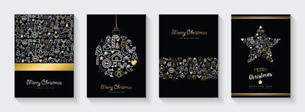 Χριστούγεννα και νέο σύνολο καρτών εικονιδίων γραμμών έτους χρυσό ελεύθερη απεικόνιση δικαιώματος
