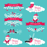Χριστούγεννα και νέο σύνολο έτους Κορδέλλες, Άγιος Βασίλης, snowflakes διανυσματική απεικόνιση