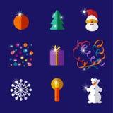 Χριστούγεννα και νέο σύνολο εικονιδίων σχεδίου έτους επίπεδο Στοκ Φωτογραφία