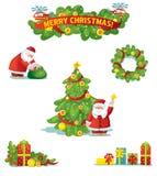 Χριστούγεννα και νέο σύνολο διακοσμήσεων διακοπών έτους Στοκ Φωτογραφίες