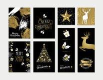 Χριστούγεννα και νέο σύνολο προτύπων καρτών έτους χρυσό Στοκ φωτογραφίες με δικαίωμα ελεύθερης χρήσης