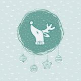 Χριστούγεννα και νέο το χρόνο πλαίσιο με το επικεφαλής σύμβολο ελαφιών χαιρετισμός καλή χρονιά καρτών του 2007 Στοκ Εικόνα