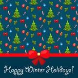 Χριστούγεννα και νέο υπόβαθρο έτους. Άνευ ραφής σχέδιο Στοκ Εικόνα
