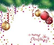 Χριστούγεννα και νέο υπόβαθρο έτους με τους κλάδους Χριστουγέννων και τις σφαίρες Χριστουγέννων διάνυσμα διανυσματική απεικόνιση
