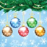 Χριστούγεννα και νέο υπόβαθρο έτους με το χριστουγεννιάτικο δέντρο Στοκ Φωτογραφία