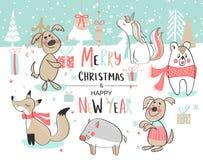 Χριστούγεννα καλή χρονιά Χαριτωμένο διάνυσμα που τίθεται με τα χαριτωμένα hand-drawn ζώα επίσης corel σύρετε το διάνυσμα απεικόνι διανυσματική απεικόνιση