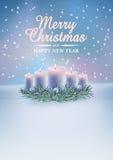 Χριστούγεννα καρτών κεριώ&n Στοκ εικόνες με δικαίωμα ελεύθερης χρήσης