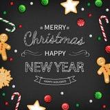 Χριστούγεννα καρτών που χ&a Εγγραφή λογότυπων με τα γλυκά στο μαύρο υπόβαθρο Για τη τοπ άποψη Ιστού ή εκτύπωσης Στοκ φωτογραφία με δικαίωμα ελεύθερης χρήσης