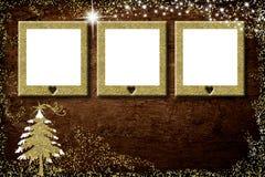 Χριστούγεννα 3 κενή κάρτα πλαισίων φωτογραφιών Στοκ Φωτογραφίες