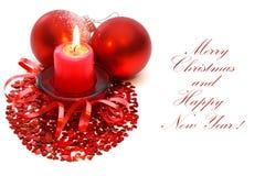Χριστούγεννα κεριών σφαι& στοκ φωτογραφίες