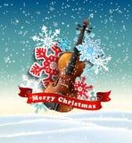 Χριστούγεννα κινητήρια με snowflakes βιολιών και εγγράφου στοκ εικόνα με δικαίωμα ελεύθερης χρήσης