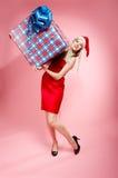 Χριστούγεννα κοριτσιών δώ& στοκ εικόνες με δικαίωμα ελεύθερης χρήσης