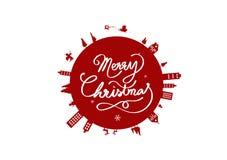 Χριστούγεννα, κυκλικό σχέδιο σφαιρών, διάνυσμα εμβλημάτων λογότυπων αφισών, θερμ. ελεύθερη απεικόνιση δικαιώματος