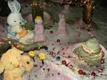 Χριστούγεννα με τα παιχνίδια βελούδου στοκ εικόνα με δικαίωμα ελεύθερης χρήσης