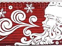 Χριστούγεννα, νέα κάρτα έτους, διακόσμηση - Άγιος Βασίλης με snowflakes, χιονοπτώσεις Στοκ φωτογραφία με δικαίωμα ελεύθερης χρήσης